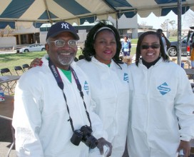 Bullard and DSCEJ staff Decked out in Tyvek Suits for Safeway Back Home Post Katrina neighborhood  cleanup pilot 2006